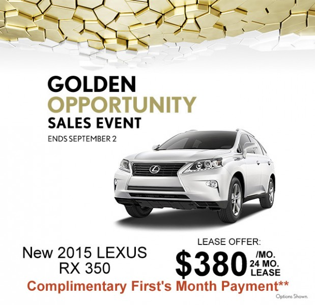 Lexus Rx 350 Lease: Golden Opportunity Sales Event